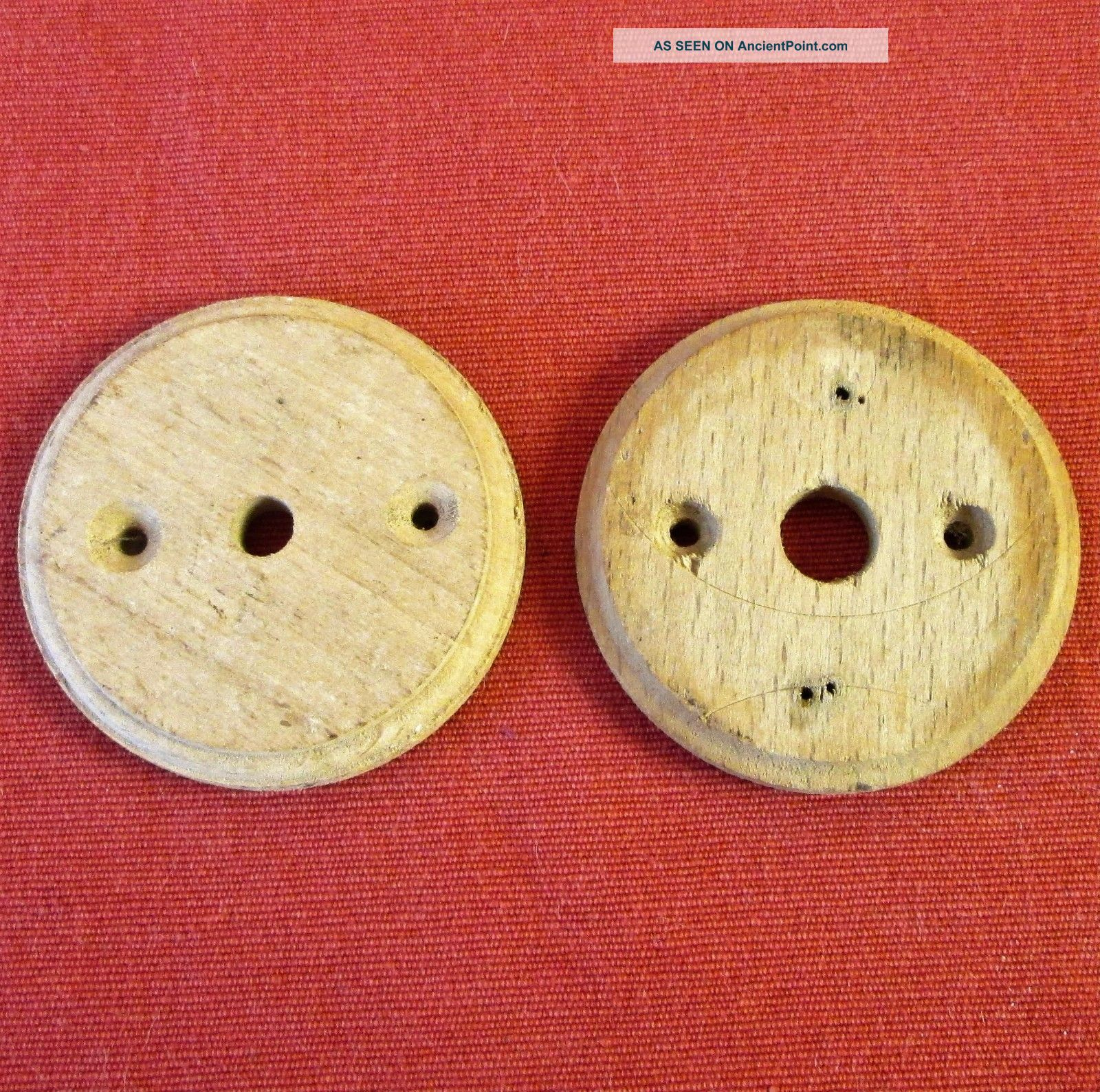 Pair Vintage French Round Wood Pattress Mounts For Light Switch / Ceiling Roses Light Switches photo