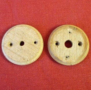 Pair Vintage French Round Wood Pattress Mounts For Light Switch / Ceiling Roses photo