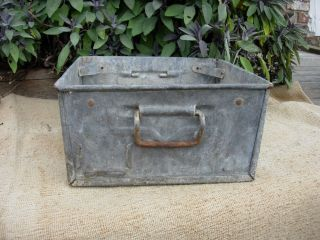 Vintage Weathered Industrial Galvanised Metal Trough Tray Garden Planter (889) photo