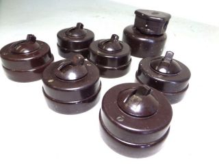 6x Vtg Art - Deco Crabtree Ceramiic & Bakelite Dolly Light Switches Old Stock photo