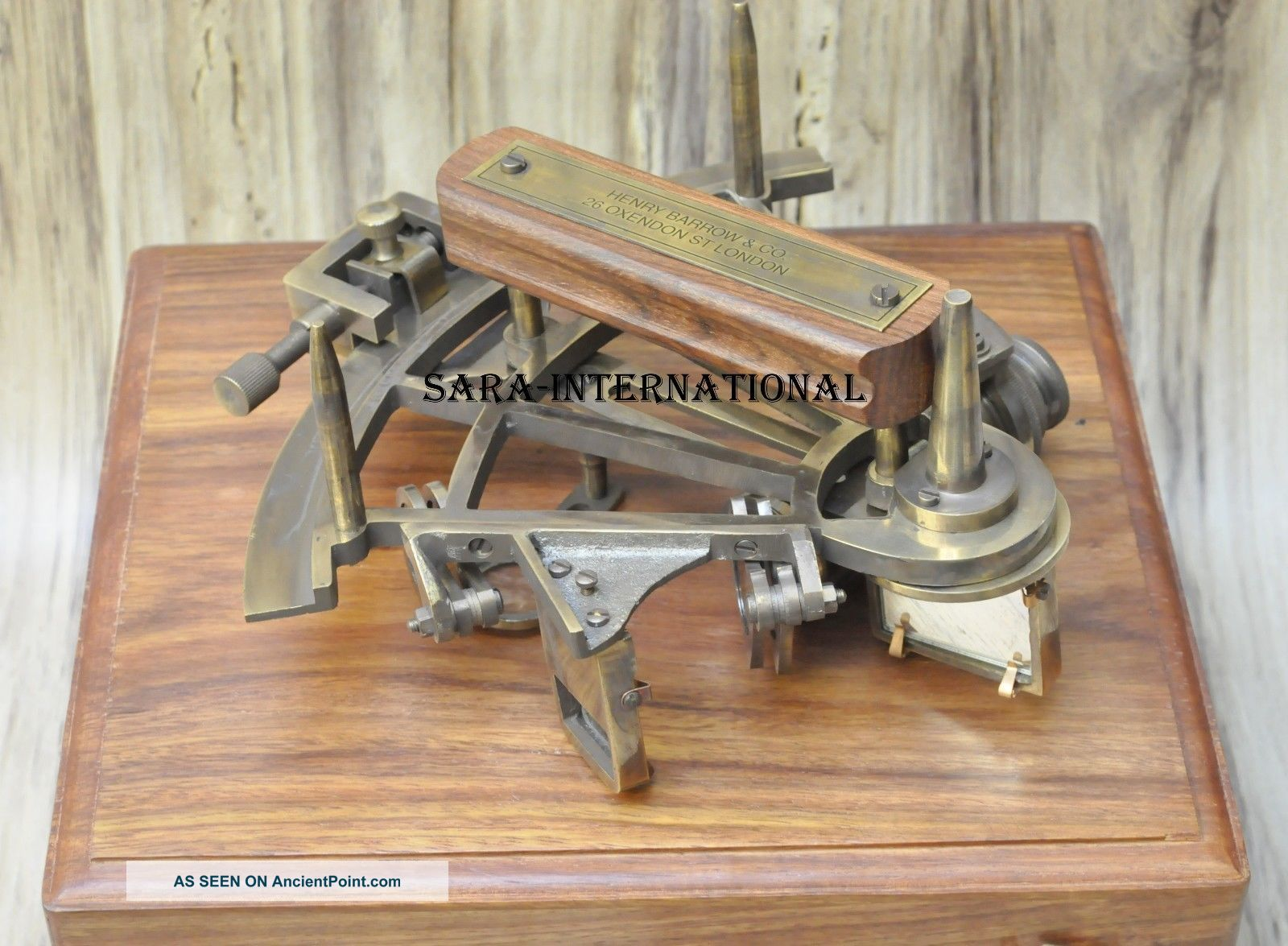 Marine Collectible Nautical Brass German Maritime Sextant W/ Wooden Box Sextants photo