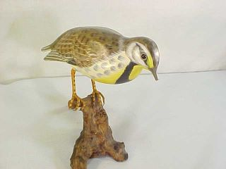 Vintage Chinese ? Painted Folk Art Meadowlark Bird Decoy Wood Carving Signed photo