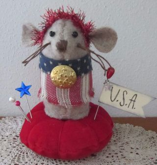 Primitive Wool Patriotic Usa Americana Mouse Make Do Pin Cushion Pfatt photo