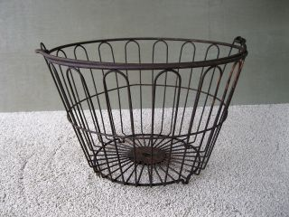 Antique Wire Basket Uncoated Vintage Primitive Egg Field Bail Handle,  16