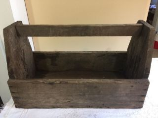 Old Vintage Antique Wooden Carpenter ' S Tool Box Primitive Carrying Tote Caddy photo