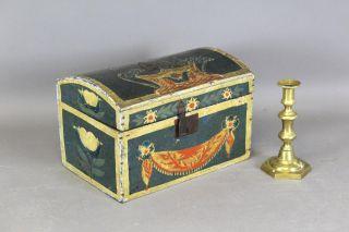 Great 19th C Pa German Folk Art Painted Box Best Tulip & Swag Painted Decoration photo