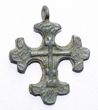 Authentic Late Medieval Bronze Cross Pendant - Wearable Artifact - St24 photo