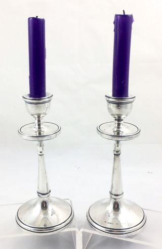 Sterling Silver Arts & Crafts Candlesticks 18.  5cm High,  Chester 1918 photo