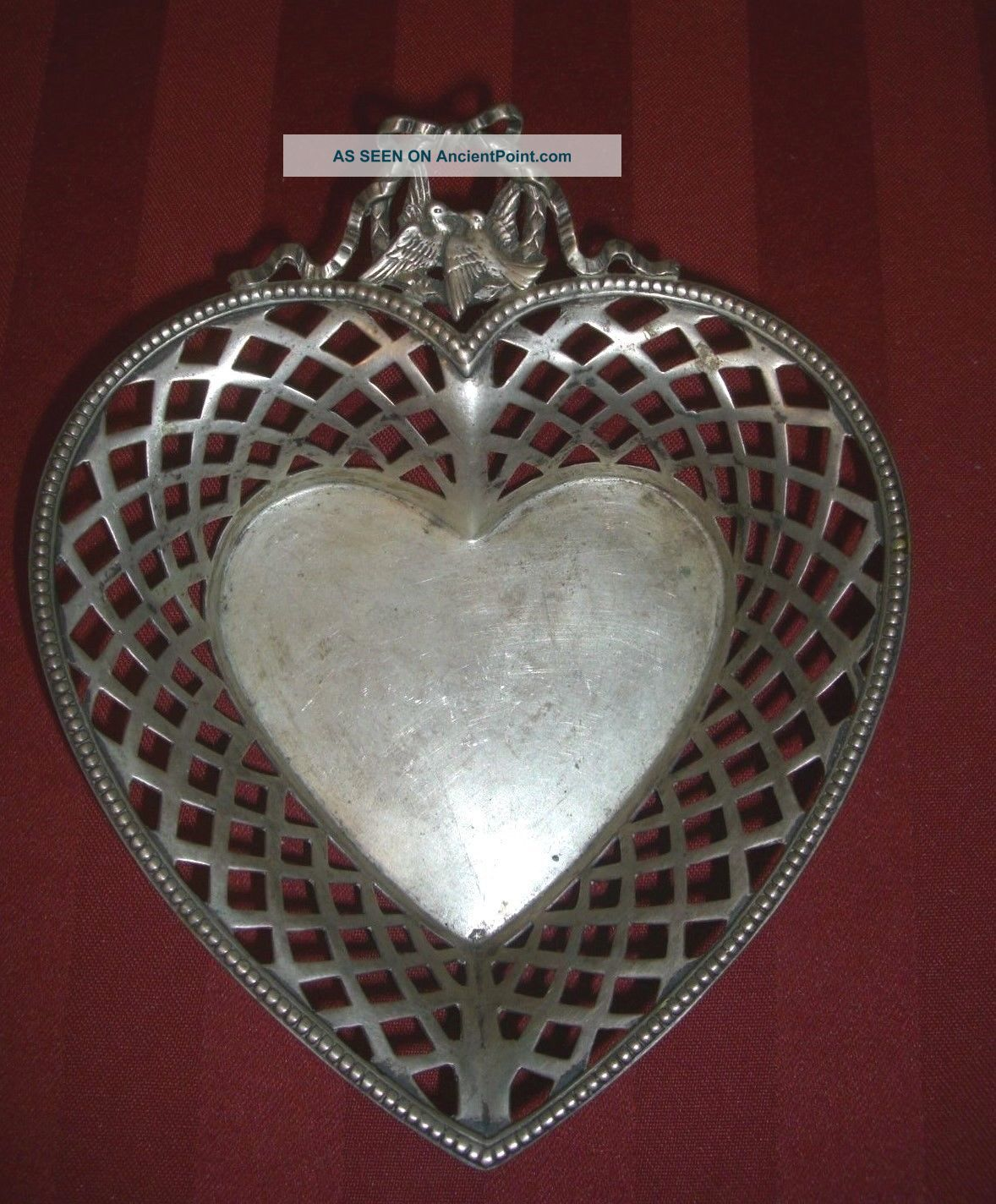 Antique 800 Sterling Silver Reticulated Heart Shaped Bowl With Love Birds Bowls photo