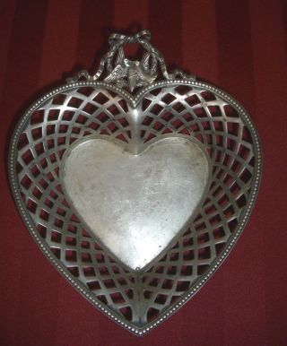 Antique 800 Sterling Silver Reticulated Heart Shaped Bowl With Love Birds photo