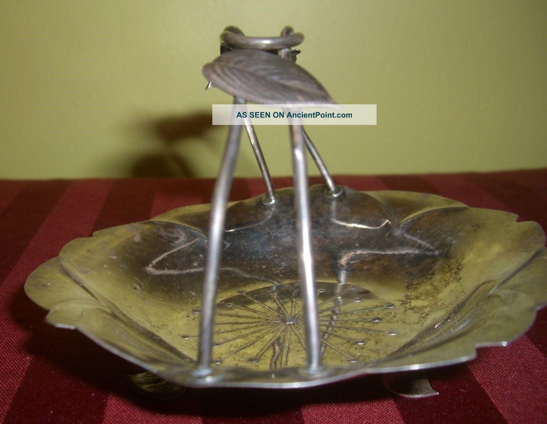 Vintage Mid Century Sterling Silver Footed Basket Bowl Leaf Handle Starburst Bowls photo