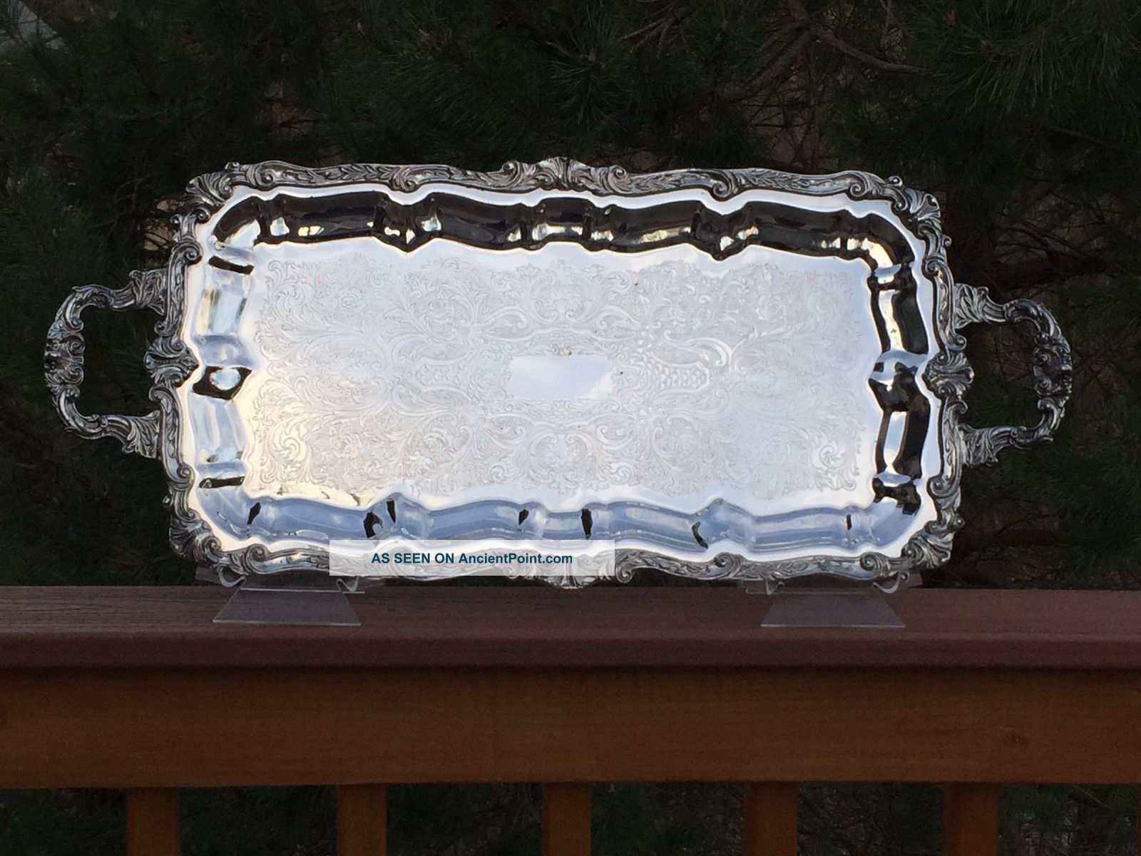 Sheridan Silverplate Oblong Footed & Handled Waiters Tray Chippendale 27