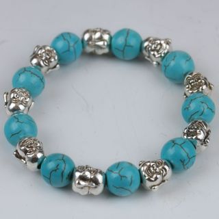 100 Natural Turquoise & Tibet Silver Handwork Buddha Head Bracelet G530 photo