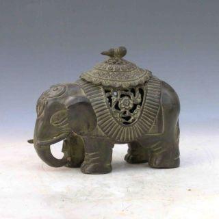 Chinese Bronze Handwork Carved Elephant Shape Incense Burner &lid photo