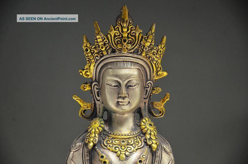 Collectible Chinese Silver Gilt Handwork Carved Tibetan Buddhism Statue Buddha photo