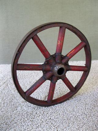 Antique Farm Cart Wheel Primitive Country Wood Metal Rim Red Pt 9 - 3/4