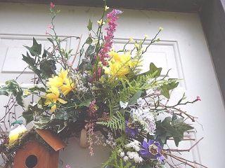 Spring Summer Birdhouse,  Queen Ann Lace,  Wildflowers,  Floral Door Wreath,  Wreaths photo