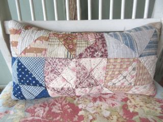 Hand Made From 1800s Antique Quilt Pillow Small Primitive Shabby Cottage 6x12