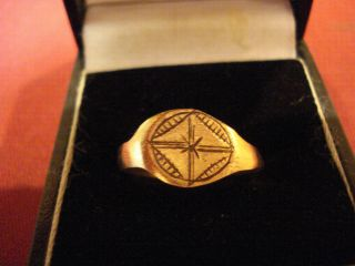 Ancient Roman / Byzantine Ring With ' Star ' And ' Cross ' - - Detector Find photo