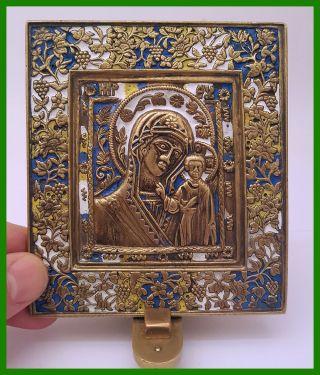 Russia Orthodox Bronze Icon The Virgin Of Kazan.  Enameled photo