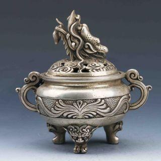 Tibet Silver Hand - Carved Incense Burner & Dragon Lid Gd9939 photo