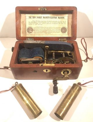Rare Antique Pocket Miniature Magneto Electric Shock Therapy Machine With Probes photo