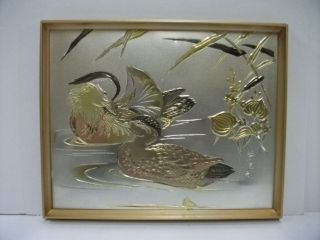 Pure Gold,  Pure Silver,  A Metal Engraving Product.  Mandarin Duck.  Yosimi ' S Work photo