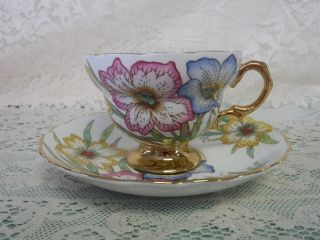 Vintage Rosina Heavy Gold Hand Painted Cup Saucer 5162/ar Floral photo