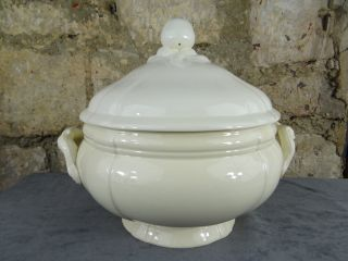 Antique French Creamy White Ceramic Large Soup Tureen - Digoin § Sarreguemines photo