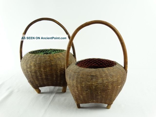 2 Old Ethnographic Tribal Papua Guinea Woven Rattan Storage Pots Pacific Islands & Oceania photo