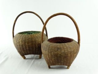 2 Old Ethnographic Tribal Papua Guinea Woven Rattan Storage Pots photo