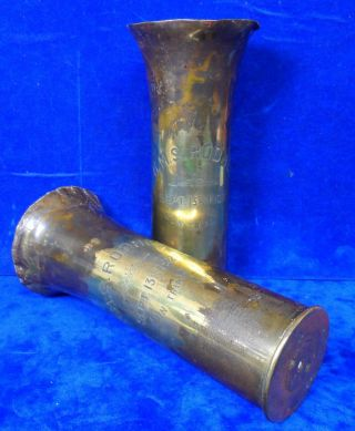 Hms Rodney Gun Trials Trench Art Wwi & Wwii Militaria Engraved Brass Shell Vases photo