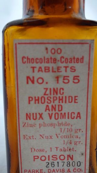 Antique Parke Davis Apothecary Medicine Poison Red Nux Vomica Cork Top Bottle photo
