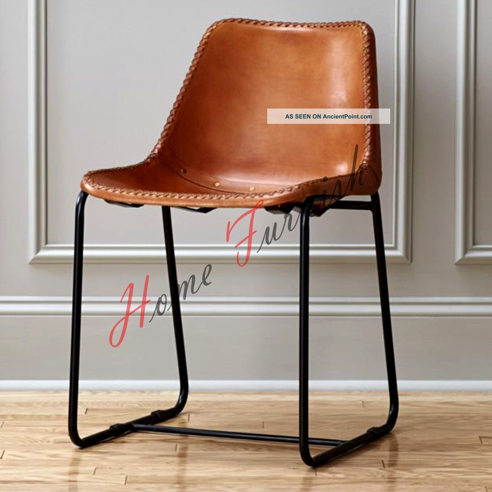 Brown Leather Dining Chair Cafe Chair Restaurant Chairs Retro Style Chair Post-1950 photo