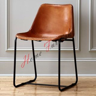 Brown Leather Dining Chair Cafe Chair Restaurant Chairs Retro Style Chair photo