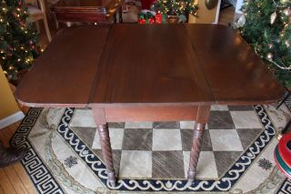 Antique Drop Leaf Table Dining Games Barley Twist photo