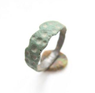 Ancient Old Viking Bronze Decorated Ring  Thimble Dots  (arl) photo