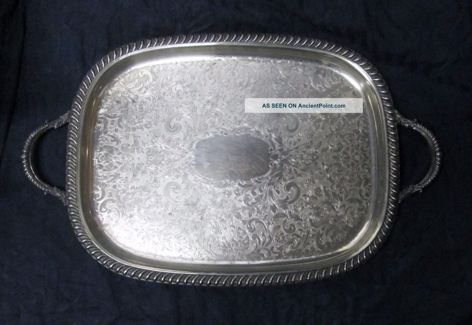 Vtg Silver Plate Large Rectangular Two - Handle Footed Serving Tray Ornate 1920 - 30 Platters & Trays photo