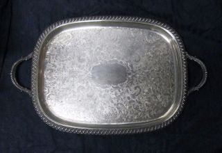 Vtg Silver Plate Large Rectangular Two - Handle Footed Serving Tray Ornate 1920 - 30 photo
