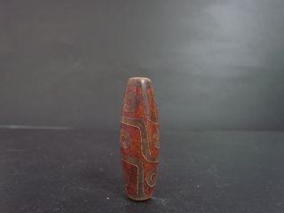 1 Pc Tibetan Prayer Worry Dzi Bead Old Agate Tencel Amulet Gzi Antique Tibet photo
