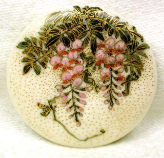 Lg Sz Antique Meiji Satsuma Button Purple & Piink Wisteria 1 & 1/4