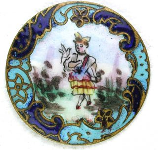 Antique French Enamel Button Strolling Woman W/ Champleve Border - 1 & 1/16