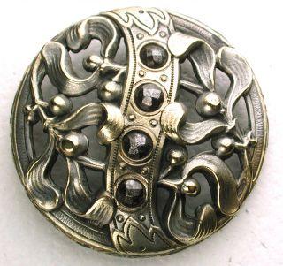 Lg Sz Antique Pierced Brass Button Berries & Sash W/ Cut Steel Accents 1 & 7/16