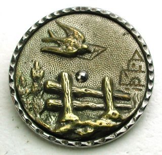 Lg Sz Antique Steel Cup Button Brass Bird Carrying A Letter Scene - 1 & 5/16 photo