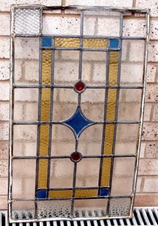 Victorian Stained Glass Window Panel Blue,  Yellow,  Clear Panels & Round Red 3/4 photo