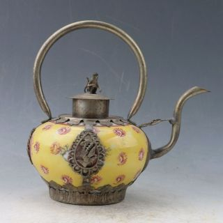 Chinese Porcelain & Tibet Silver Handwork Teapot & Monkey Lid Py0336 photo