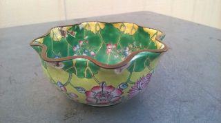China Antique Cloisonne Copper Metal Petals Bowl With Lotus Flower Patterns photo