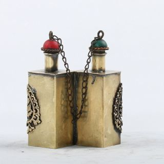 Rare Collectibles Handwork Tibet Silver & Copper Snuff Bottles Csy485 photo
