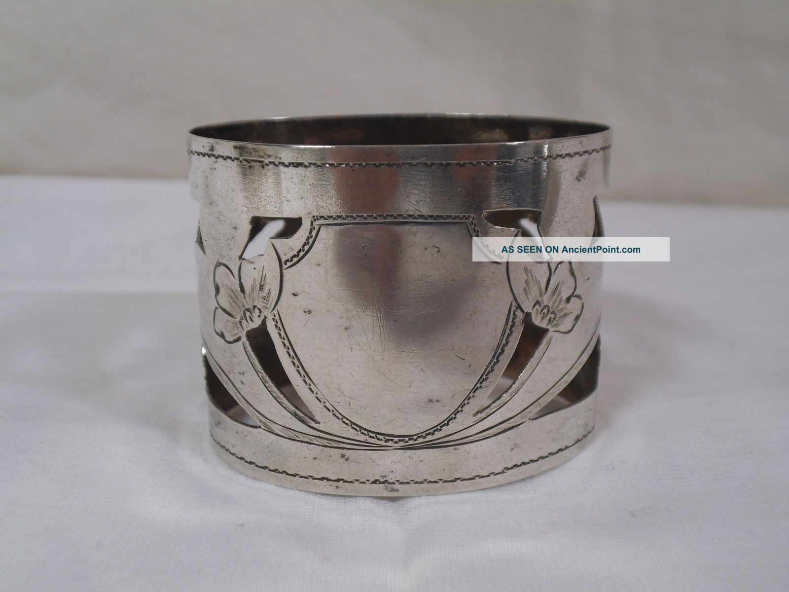 Antique Russian Silver 84 Filigree Etched Flowers Napkin Band Sterling Ring Russia photo