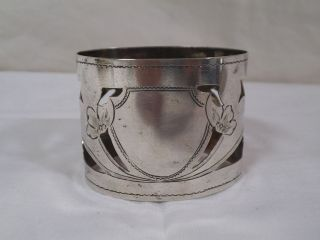Antique Russian Silver 84 Filigree Etched Flowers Napkin Band Sterling Ring photo